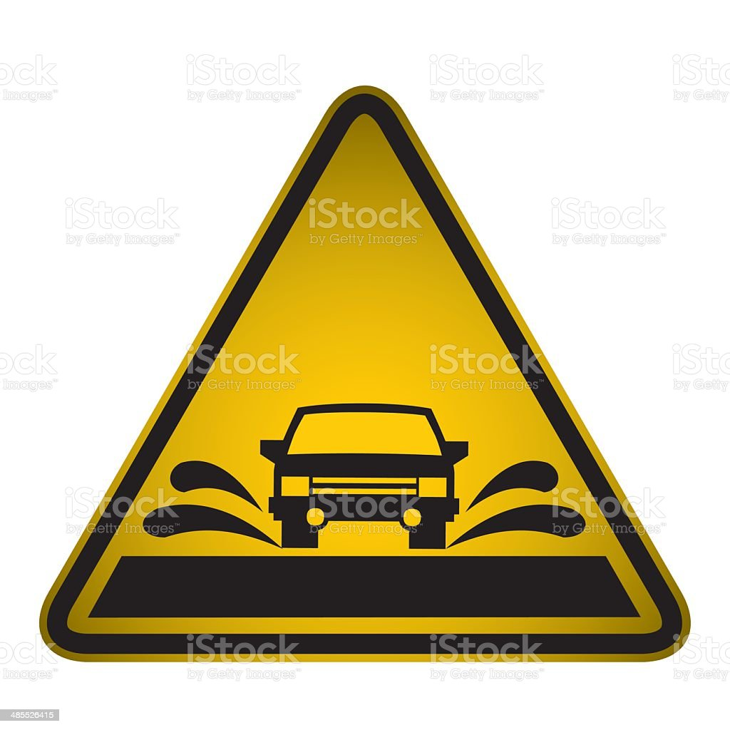 Flooded Road Sign- Vector vector art illustration