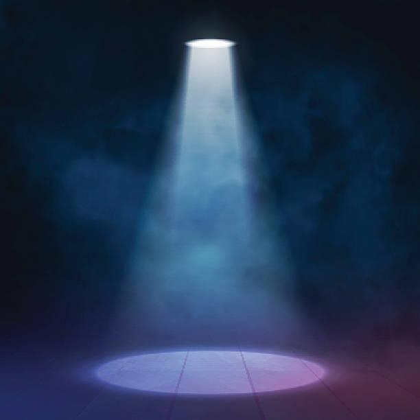 bildbanksillustrationer, clip art samt tecknat material och ikoner med floodlight spotlight illuminates wooden scene. vector illustartion. - disco lights