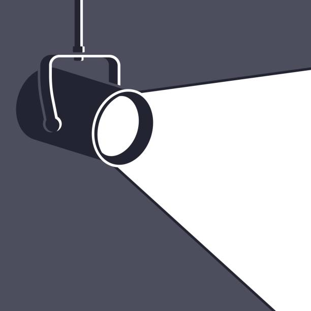 Floodlight Stage light or floodlight with copy space. spot lit stock illustrations