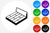 Floor Board Icon on Flat Color Circle Buttons. This 100% royalty free vector illustration features the main icon pictured in black inside a white circle. The alternative color options in blue, green, yellow, red, purple, indigo, orange and black are on the right of the icon and are arranged in two vertical columns.