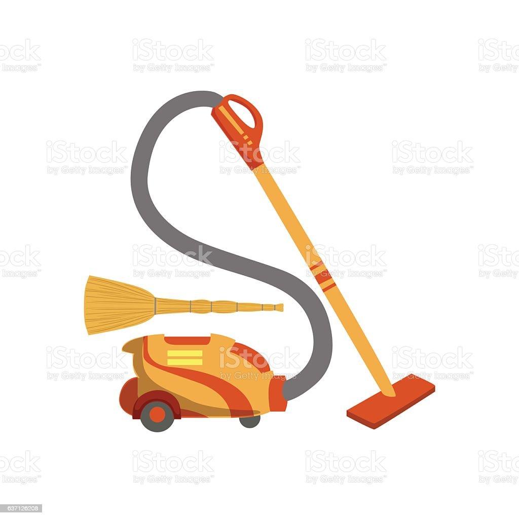 Floor CleaningHousehold Equipment Set vector art illustration
