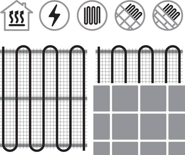 Floor heating systems Floor heating systems and icons infrared stock illustrations