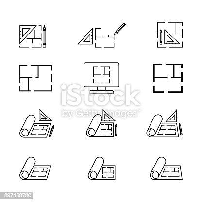 istock Floor icon, plan icon  isolated on white 897468780