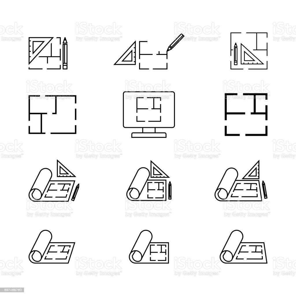 Icône de plancher, icône plan isolé sur blanc - Illustration vectorielle