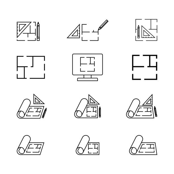 floor icon, plan icon  isolated on white - architect stock illustrations, clip art, cartoons, & icons