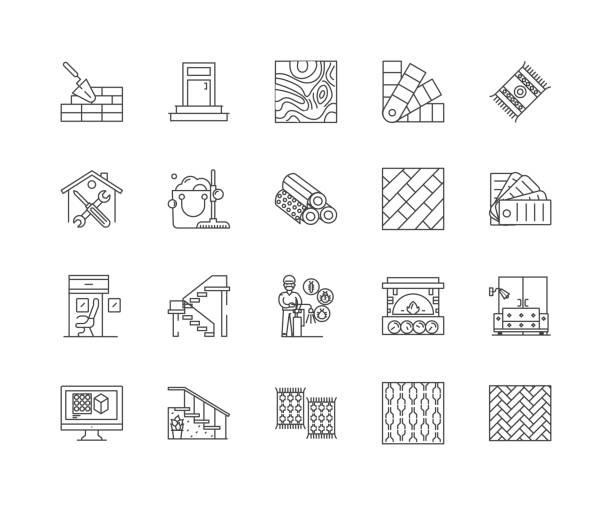 illustrations, cliparts, dessins animés et icônes de icônes de ligne de plancher, signes linéaires, ensemble vectoriel, illustration de concept de contour - sol caractéristiques d'une construction