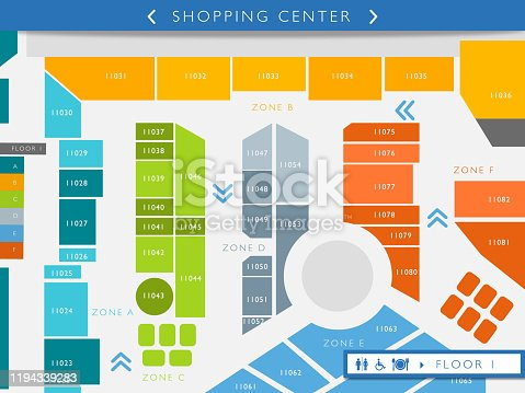 Floor map of a shopping center illustration - Consumerism concepts