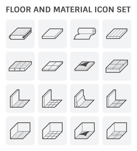 bildbanksillustrationer, clip art samt tecknat material och ikoner med ikon för golv material - wood stone