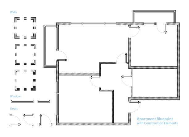 stockillustraties, clipart, cartoons en iconen met plattegrond. appartement blauwdruk met bouwelementen. huis project. vectorillustratie - flat icons