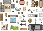 Vector illustration of furniture to make a floor plan of a house. Jpg and EPS10 files.