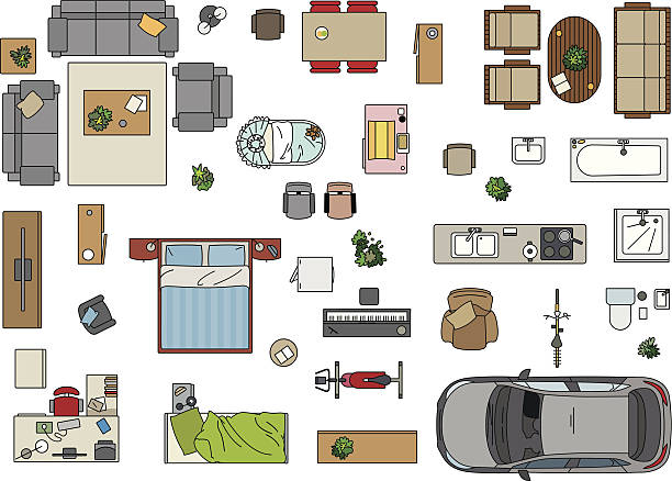 Floor Plan, Furniture Vector illustration of furniture to make a floor plan of a house. Jpg and EPS10 files. bedroom drawings stock illustrations