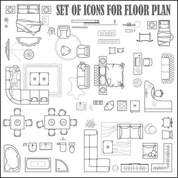 Floor plan icons set for design interior and architectural project (view from above). Furniture thin line icon in top view for layout. Blueprint apartment. Vector Floor plan icons set for design interior and architectural project (view from above). Furniture thin line icon in top view for layout. Blueprint apartment. bedroom drawings stock illustrations