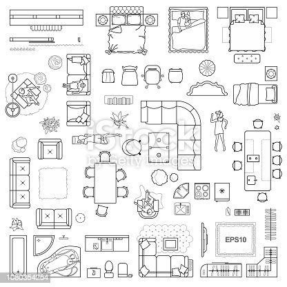 Floor plan icons set for design interior and architectural project (view from above). Furniture thin line icon in top view for layout. Blueprint apartment.