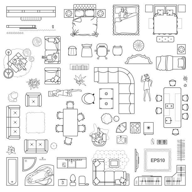 ilustrações de stock, clip art, desenhos animados e ícones de floor plan icons set for design interior and architectural project (view from above). furniture thin line icon in top view for layout. blueprint apartment. vector - chair