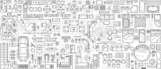 Floor plan icons set for design interior and architectural project (view from above). Furniture thin line icon in top view for layout. Blueprint apartment. Vector