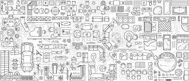 Set of furniture top view for apartments plan. The layout of the apartment design, technical drawing. Interior icon for bathrooms, living room, kitchen, bedroom, hallway . Vector