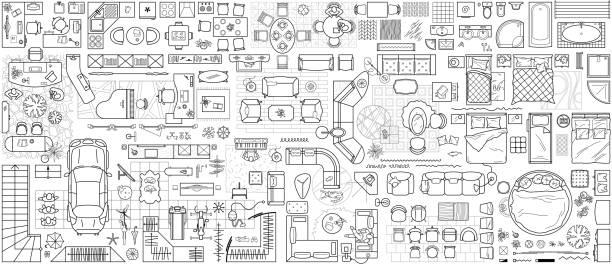 為設計室內和建築專案設置的平面圖圖示(從上面查看)。用於佈局的頂視圖中的傢俱細線圖示。藍圖公寓。向量 - 圖畫 藝術品 幅插畫檔、美工圖案、卡通及圖標