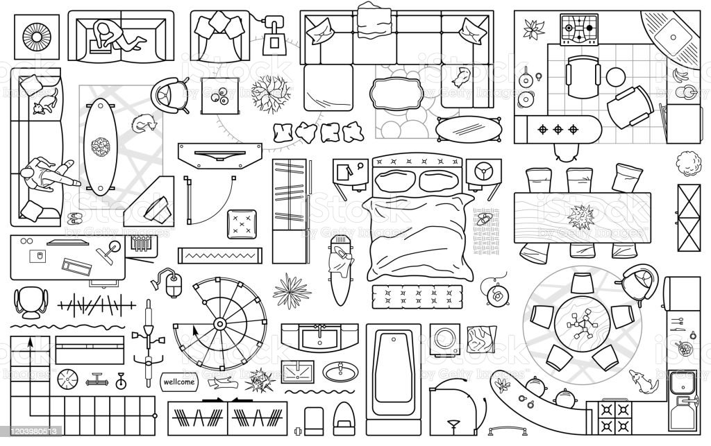 Floor Plan Icons Set For Design Interior And Architectural Project Furniture Thin Line Icon In Top View For Layout Blueprint Apartment Vector Stock Illustration Download Image Now Istock