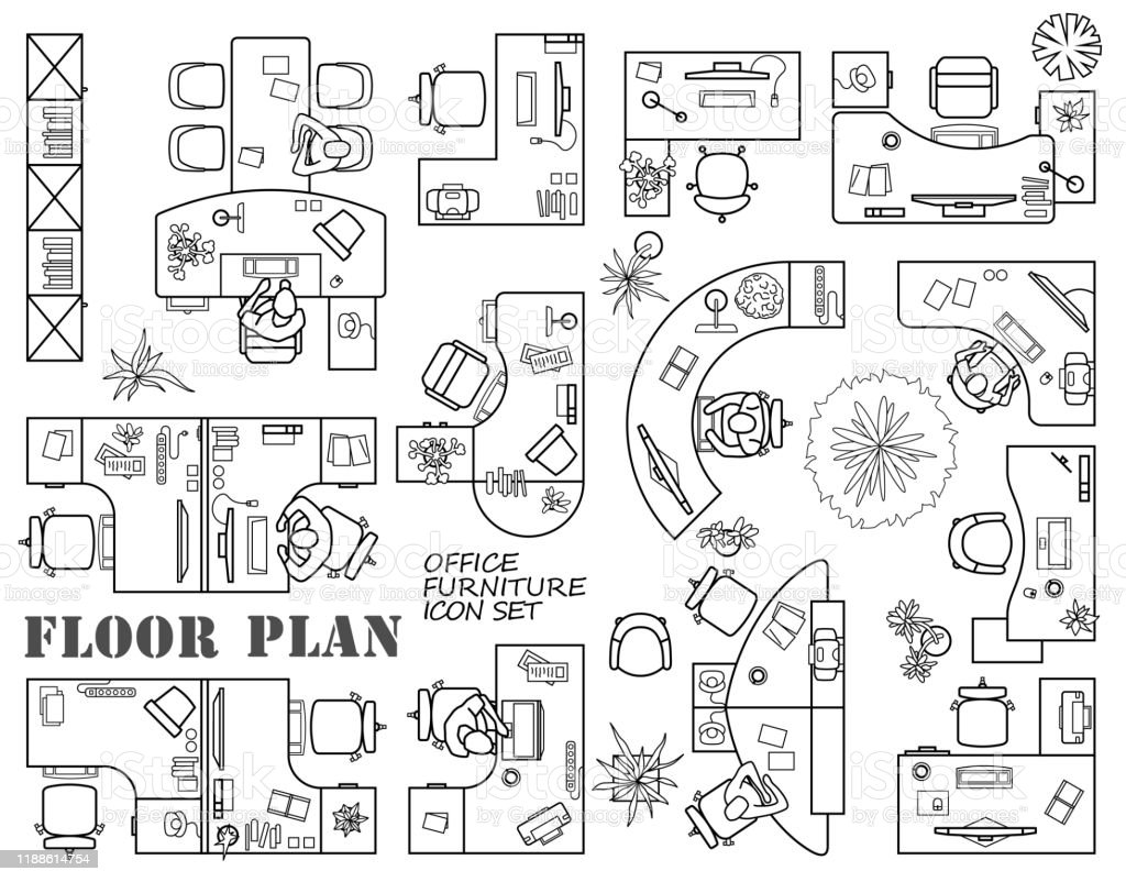 Floor Plan Of Office Or Cabinet In Top View Furniture Icons In View From Above Vector Stock Illustration Download Image Now Istock