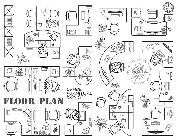 floor plan of office or cabinet in top view. furniture icons in view from above. vector - ilustracje z kategorii architektura stock illustrations