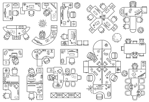 Floor plan of office or cabinet in top view. Furniture icons in view from above. Vector