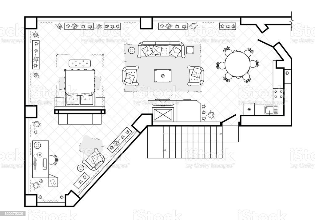 Floor plan, top view. The interior design terrace. The cottage is a covered veranda. Layout of the apartment with the furniture. vector art illustration