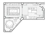 Floor plan, top view. The interior design terrace. The cottage is a covered veranda. Layout of the apartment with the furniture.