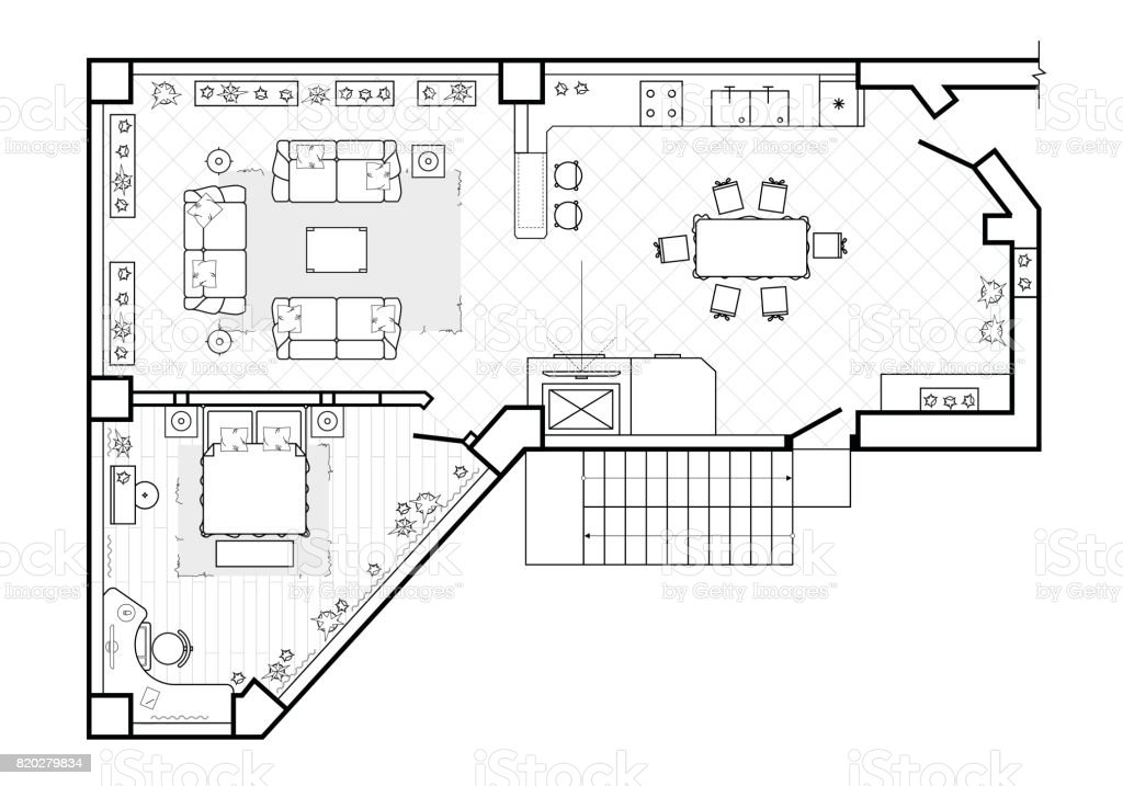 Floor plan top view the interior design terrace the for Terrace layout