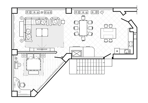 Floor plan, top view. The interior design terrace. The cottage is a covered veranda. Layout of the apartment with the furniture. Vector architecture.