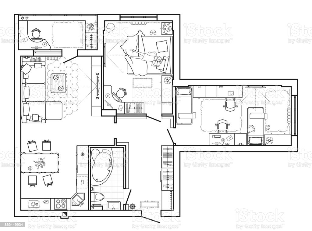 Floor plan with furniture in top view architectural set of furniture floor plan with furniture in top view architectural set of furniture thin line icons malvernweather Image collections