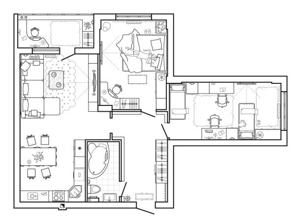 ilustrações, clipart, desenhos animados e ícones de piso plano com mobília em vista superior. arquitetônico conjunto de ícones de linha fina de mobília. layout detalhado do apartamento moderno. - ícones de design planar