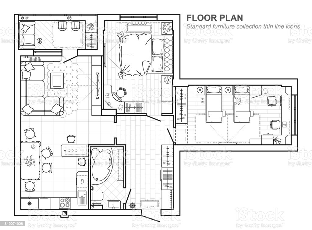 Floor Plan With Furniture In Top View Architectural Set Of Furniture