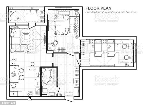 Furniture Plan Vector Art Graphics Freevectorcom