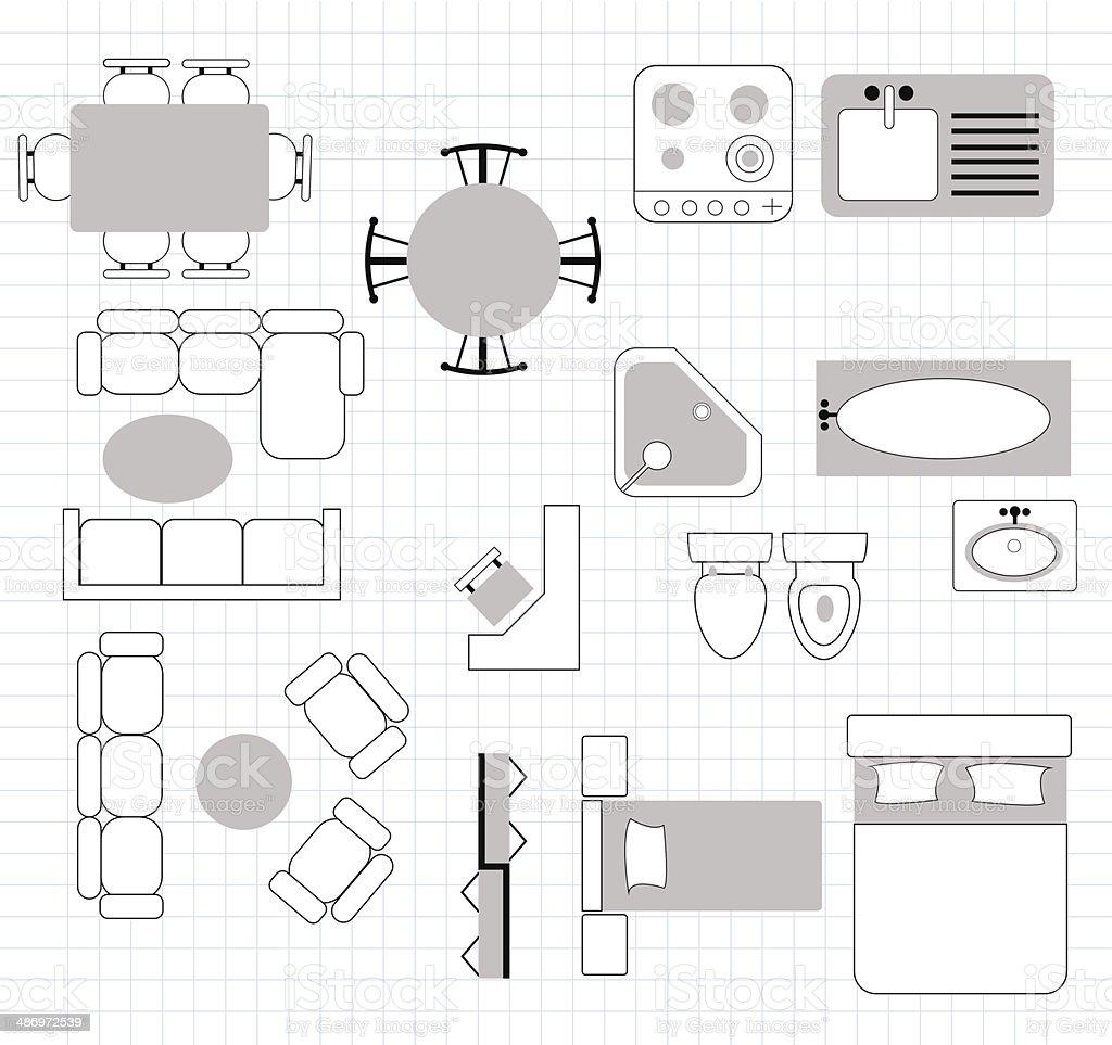 Grundriss mit m beln stock vektor art und mehr bilder von for Mobiliario para planos