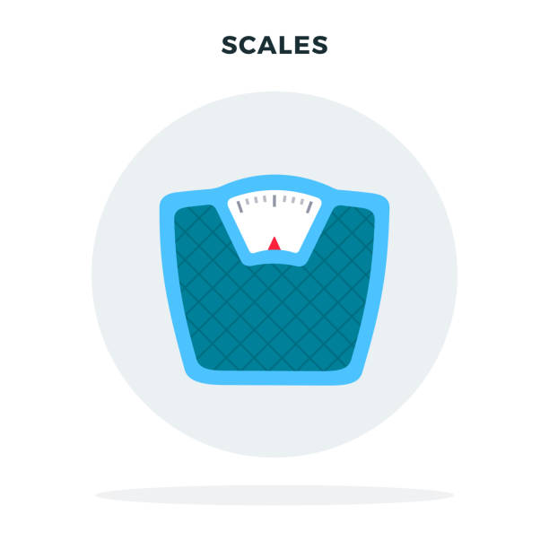 floor scales in a circle vector flat isolated - weight scale stock illustrations