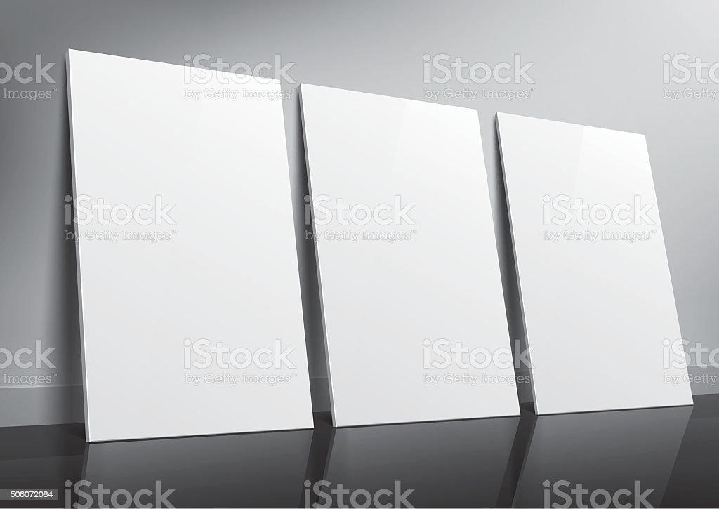 Floor standing three posters sample for design vector art illustration