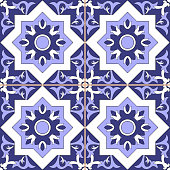 Floor tile pattern seamless vector - ornamental background blue and white color. Azulejos portuguese, italian, sicily, spanish, moroccan, mexican talavera, turkish or delft dutch design with flowers motifs.