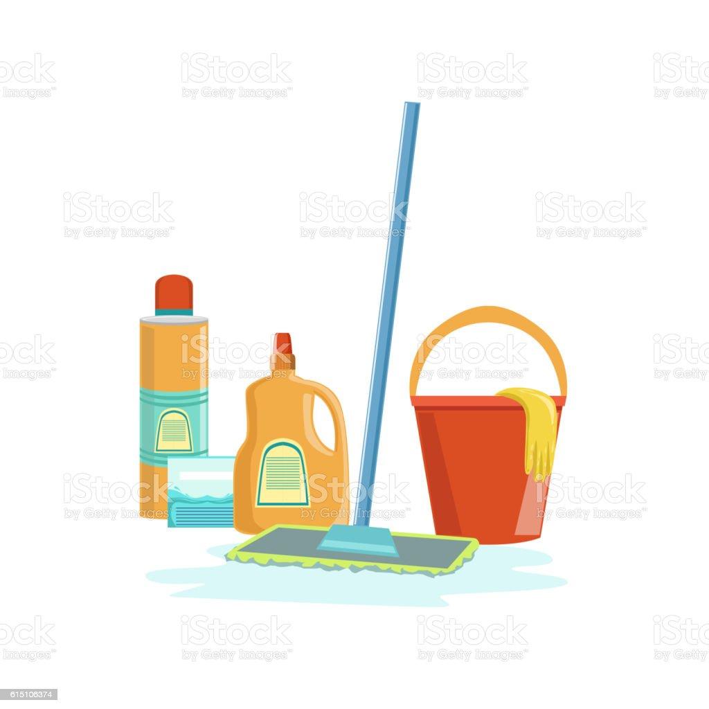 Floor Washing Household Equipment Set vector art illustration