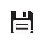 Floppy disk - black icon on white background vector illustration for website, mobile application, presentation, infographic. Diskette savecon cept sign. Graphic design element.