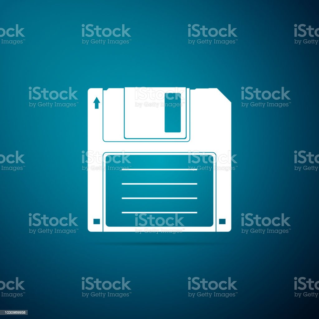 Floppy disk for computer data storage icon isolated on blue background. Diskette sign. Flat design. Vector Illustration vector art illustration