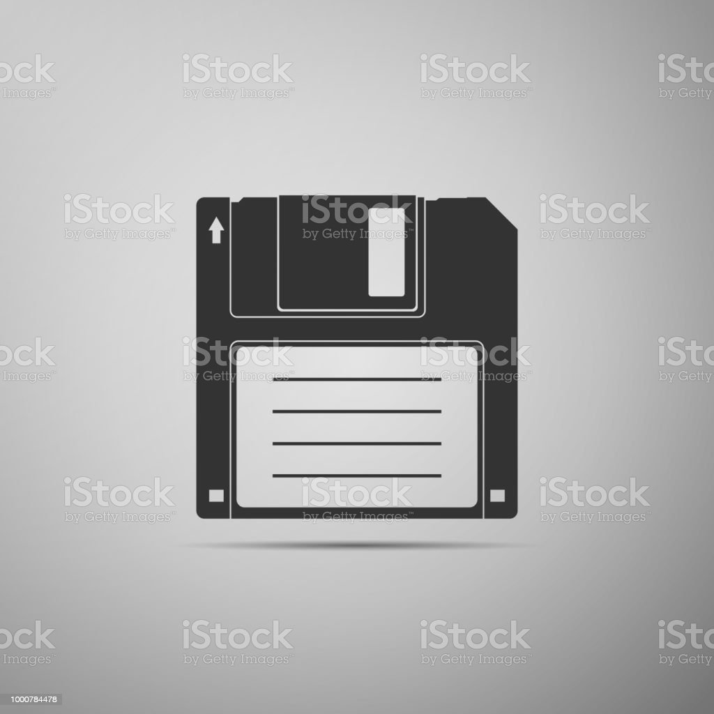 Floppy disk for computer data storage icon isolated on grey background. Diskette sign. Flat design. Vector Illustration vector art illustration