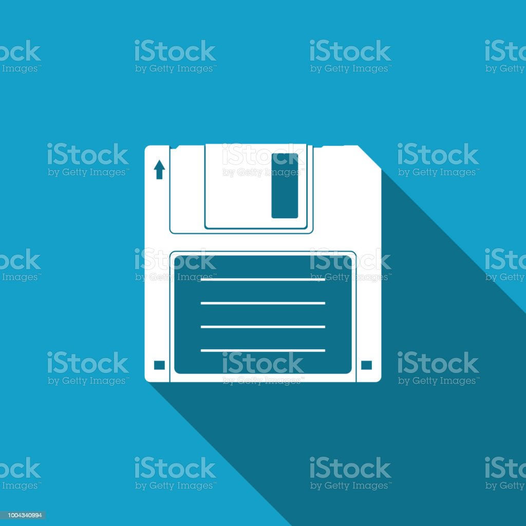Floppy disk for computer data storage icon isolated with long shadow. Diskette sign. Flat design. Vector Illustration vector art illustration