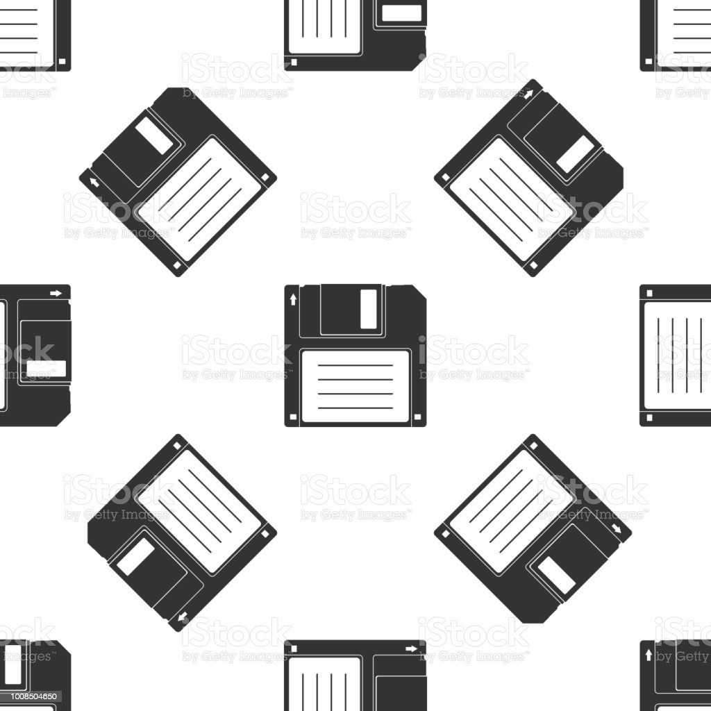 Floppy disk for computer data storage icon seamless pattern on white background. Diskette sign. Flat design. Vector Illustration vector art illustration