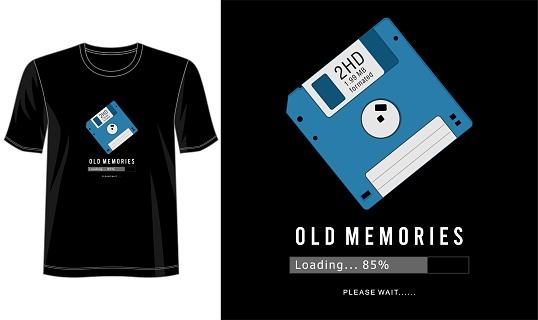 floppy disk t shirt design graphic vector illustration