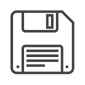 Floppy Disk Thin Line Vector Icon.