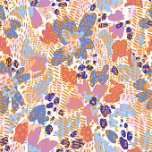 Sophisticated floral seamless pattern. Mix of abstract meadow flowers and tiger skin print. Floral bloom with animal skin ornament. Flat design. Good for fashion, textile, fabric.
