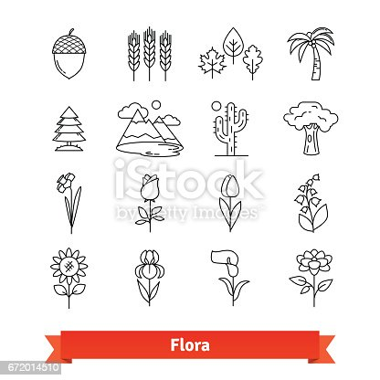 Flora thin line art icons set. Flowers, trees, plants life naturally occurring, botanical garden landscape. Linear style symbols isolated on white.