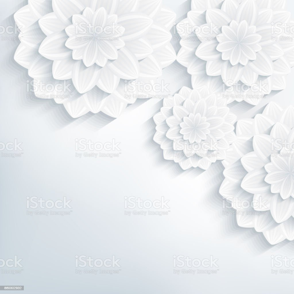 Floral Abstract Elegant Wallpaper With 3d Flowers Stock