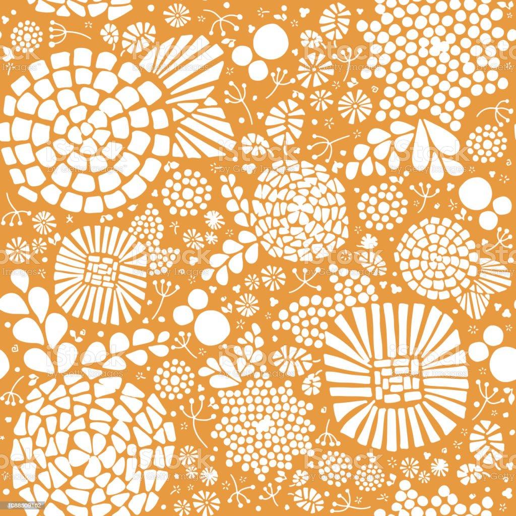 Papier Peint Jaune Moutarde fond de mosaïque abstraite florale vectorielle continue