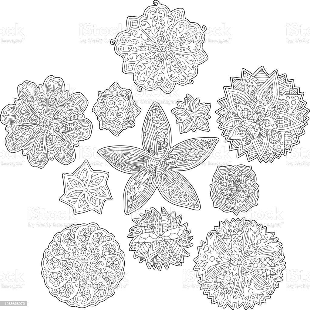 Boyama Kitabi Sayfalari Icin Soyut Cicek Desenleri Stok Vektor
